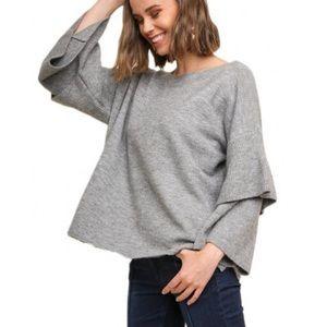 Umgee Gray Ruffle Sleeve Sweater